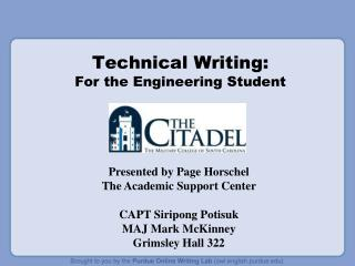 Technical Writing:  For the Engineering Student