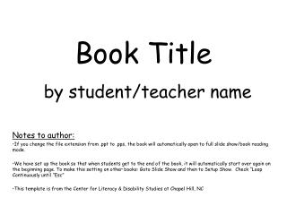 Book Title by student/teacher name