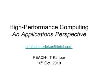 High-Performance Computing An Applications Perspective