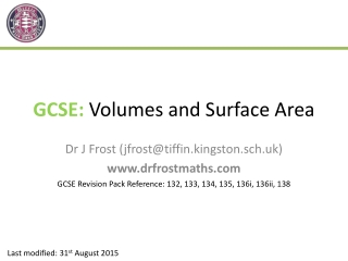 GCSE: Volumes and Surface Area