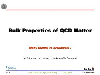 Bulk Properties of QCD Matter