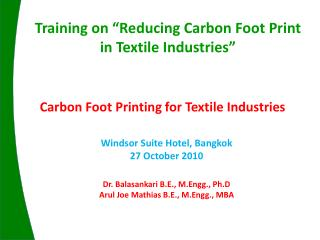 Carbon Foot Printing for Textile Industries
