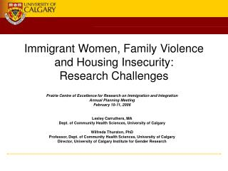 Immigrant Women, Family Violence and Housing Insecurity: Research Challenges
