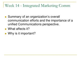 Week 14 - Integrated Marketing Comm