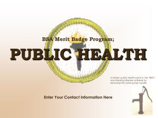 BSA Merit Badge Program; PUBLIC HEALTH