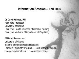 Information Session – Fall 2006