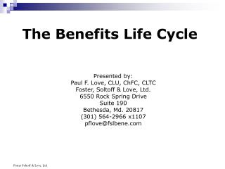 The Benefits Life Cycle