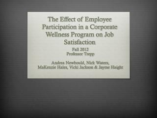 The Effect of Employee Participation in a Corporate Wellness Program on Job Satisfaction