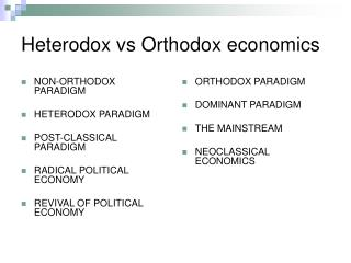 Heterodox vs Orthodox economics