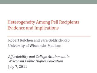 Heterogeneity Among Pell Recipients Evidence and Implications