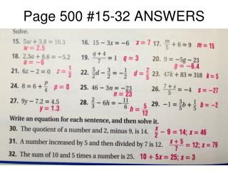 Page 500 #15-32 ANSWERS