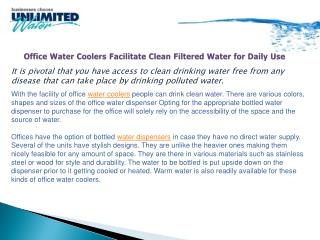 Office Water Coolers Facilitate Clean Filtered Water for Dai