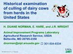 Historical examination  of culling of dairy cows from herds in the United States