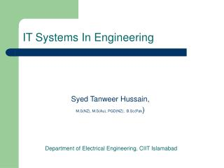 IT Systems In Engineering