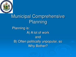 Municipal Comprehensive Planning