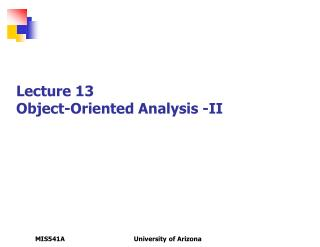 Lecture 13 Object-Oriented Analysis -II