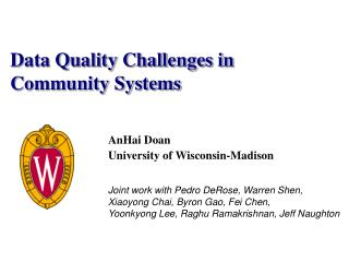 Data Quality Challenges in Community Systems