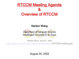RTCCM Meeting Agenda & Overview of RTCCM