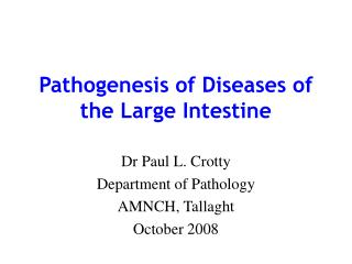 Pathogenesis of Diseases of the Large Intestine