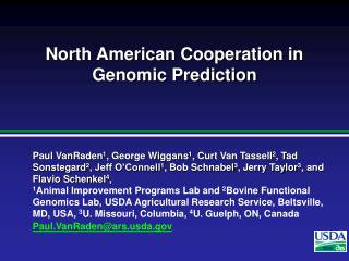 North American Cooperation in Genomic Prediction