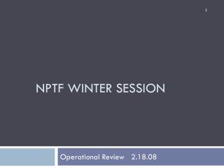 NPTF WINTER SESSION