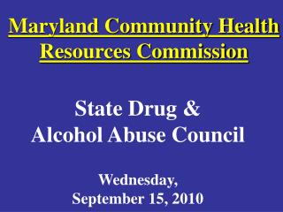 Maryland Community Health Resources Commission