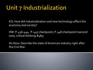 Unit 7 Industrialization