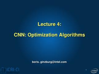Lecture 4: CNN: Optimization Algorithms