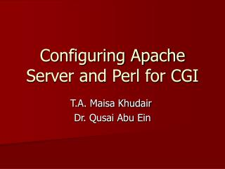 Configuring Apache Server and Perl for CGI