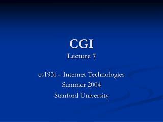 CGI Lecture 7