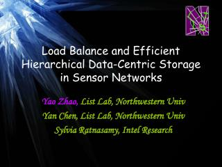 Load Balance and Efficient Hierarchical Data-Centric Storage in Sensor Networks