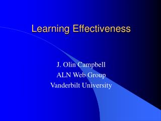Learning Effectiveness