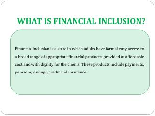 WHAT IS FINANCIAL INCLUSION?