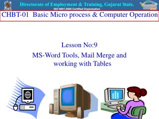 Lesson No:9 MS-Word Tools, Mail Merge and working with Tables