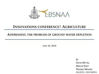 Addressing the problem of ground water depletion