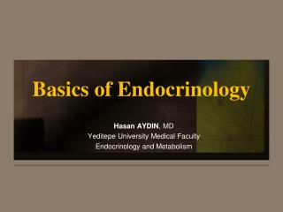 Basics of Endocrinology