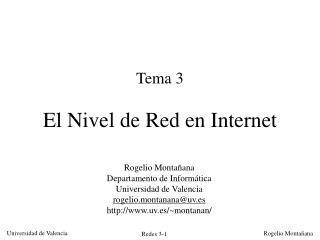 Tema 3 El Nivel de Red en Internet