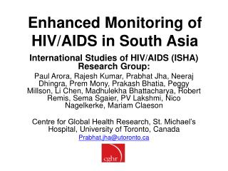 Enhanced Monitoring of HIV/AIDS in South Asia