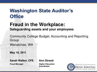 Community College Budget, Accounting and Reporting Group Wenatchee, WA