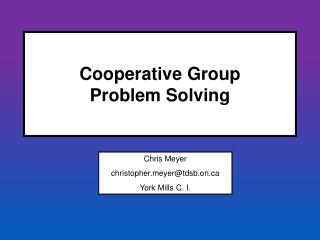 Cooperative Group  Problem Solving