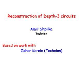Reconstruction of Depth-3 circuits