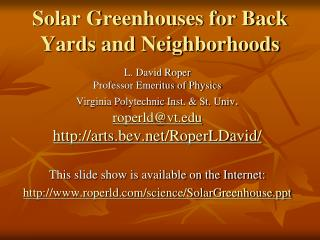 Solar Greenhouses for Back Yards and Neighborhoods