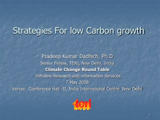 Strategies For low Carbon growth