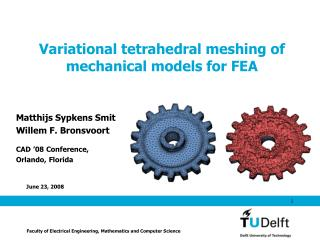 Variational tetrahedral meshing of mechanical models for FEA