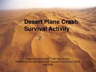 Desert Plane Crash  Survival Activity