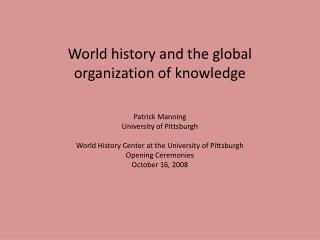 World history and the global organization of knowledge