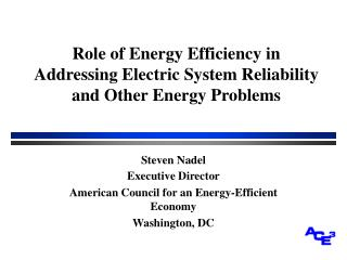 Role of Energy Efficiency in Addressing Electric System Reliability and Other Energy Problems