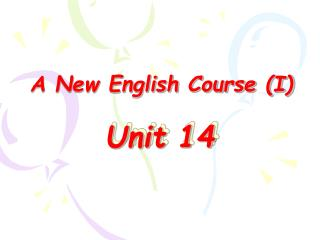 A New English Course (I)