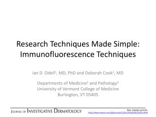 Research Techniques Made Simple:  Immunofluorescence Techniques