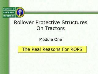 Rollover Protective Structures On Tractors Module One